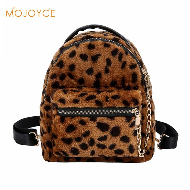 Leopard Winter Plush Chain Women Backpack Travel Rucksack Girls Students Super Mini Backpack Mochilas Mujer 2018 New