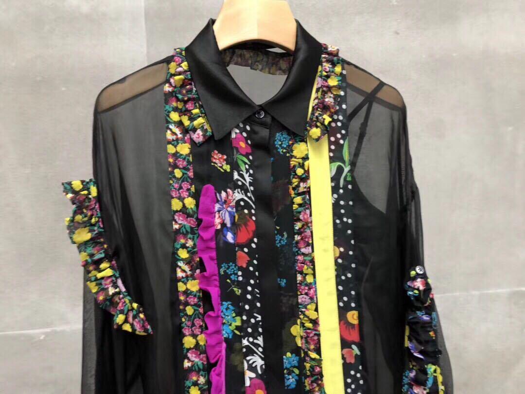 Y019 100 ٪ الحرير الربيع/الصيف 2019 الحرير الفسيفساء الدانتيل قميص مع الأزهار انتفض تقليم-في بلوزات وقمصان من ملابس نسائية على  مجموعة 3