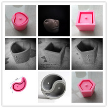Retro Old Gardening Decoration Concrete Flower Pot Molds Handmade Square Cement Landscape Silicone Mold Rectangle