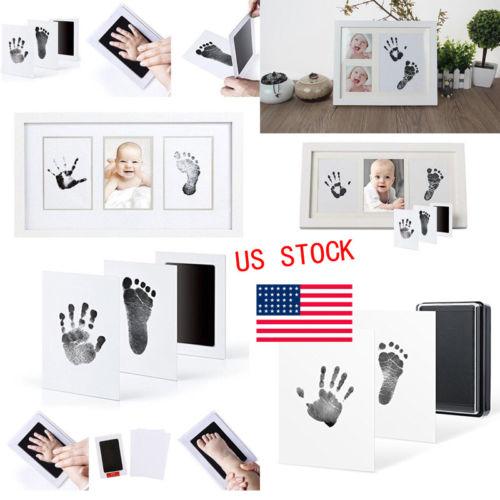 Inkless Wipe Hand & Foot Print Kit Newborn Baby Keepsake Standard Paper Size Baby Grow Up Commemorate Baby Fingerprint Footprint