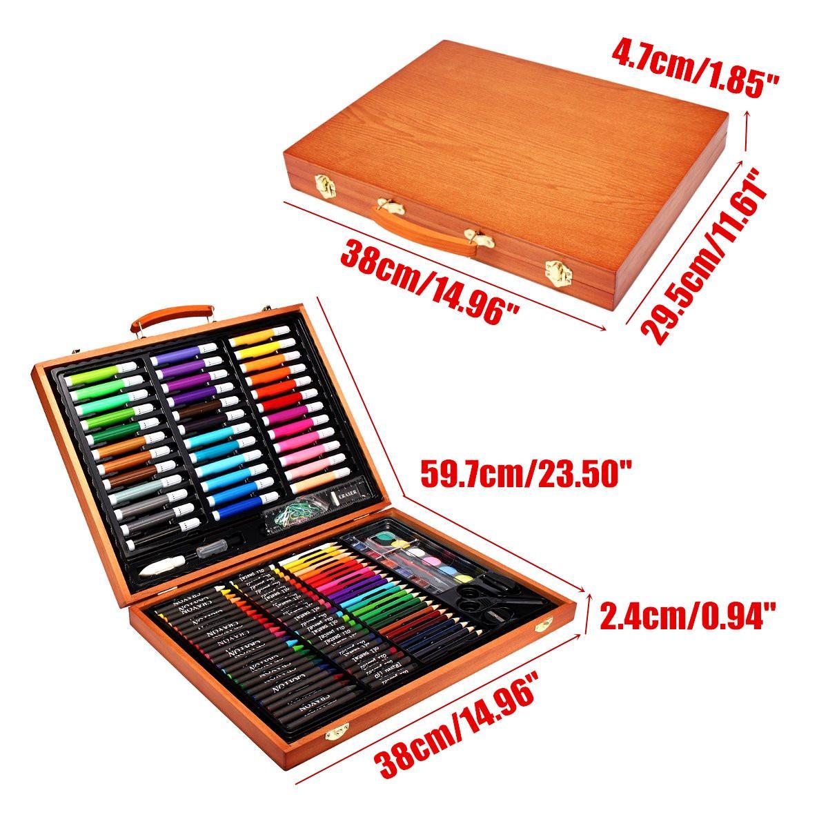 Ensembles de crayons de couleur Art de couleur ensemble de dessin de croquis professionnel peinture à colorier pinceau Kit d'artiste avec boîte en bois cadeau 148 pièces