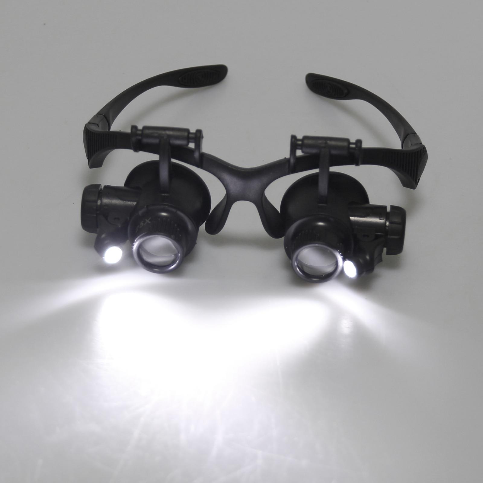 Loupe Loupe montre réparation 10X 15X 20X 25X double oeil bijoux avec 2 LED lumières Loupe lentille pour Applications dentaires