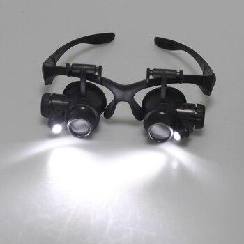Lupa gafas de aumento Reparación de reloj 10X 15X 20X 25X Dual Eye Jewelry con 2 luces LED lupa lente para aplicaciones dentales