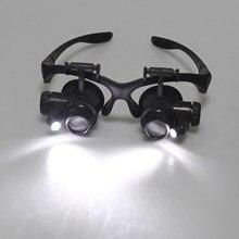 Lupa lupa reparação relógio 10x 15x 20x 25x duplo olho jóias com 2 luzes led lente lupa para aplicações odontológicas