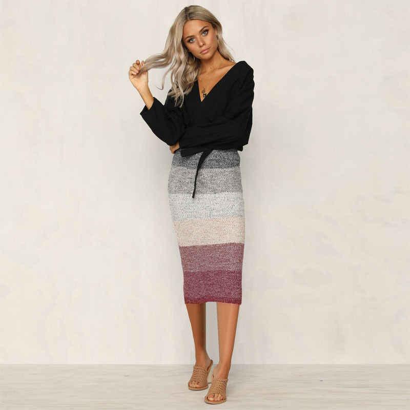 Otoño cálido Causal Popular moda Patchwork encantadora gruesa falda cálida Bodycon Slim cintura alta Stretch Maxi mujeres falda lápiz