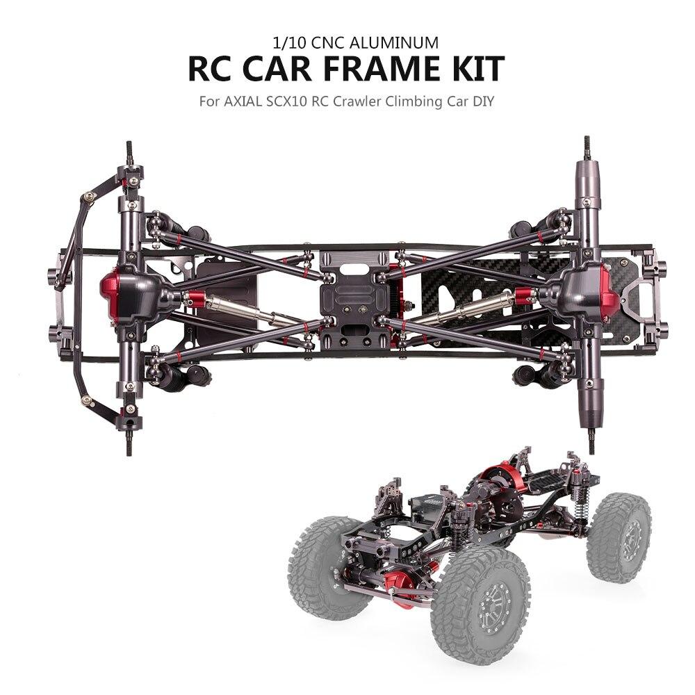 1 10 RC Car Frame Kit CNC Aluminum for AXIAL SCX10 RC Crawler Climbing Cars DIY