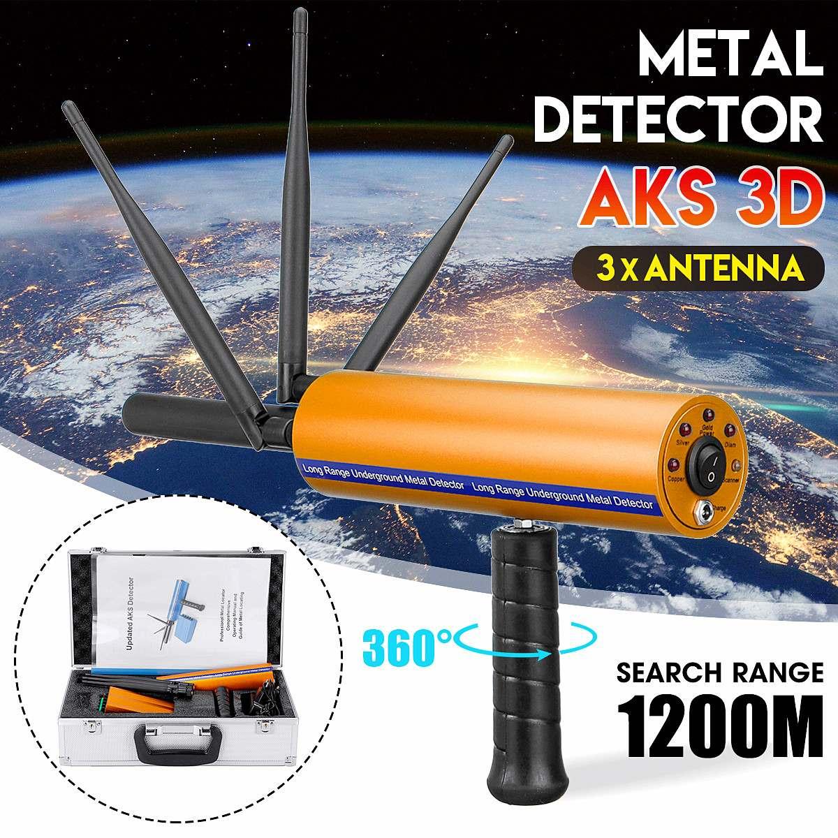 3 antennes AKS détective professionnel poignée souterraine métal/or/gemmes détecteur réglable longue portée diamant Finder Tracker
