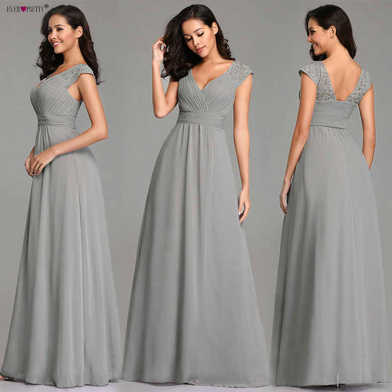 8e3174d639f ... Grey Evening Dresses Long Ever Pretty Elegant A Line Sleeveless Backless  Lace Appliques Wedding Guest Dress ...