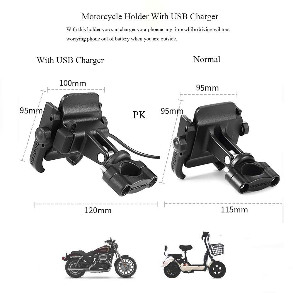 Image 4 - Universal Motorcycle Bike Scooter ATV 19 30MM Handlebar Rearview Mirror Mobile Phone Holder Stand Mount Bracket USB Port Charger-in Phone Holders & Stands from Cellphones & Telecommunications