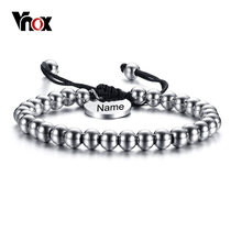 Vnox Personalized Name Charm 6mm Stainless Steel Beads Women Men Bracelet Bangle Adjustable Unisex Jewelry Mother's Day Gift(China)