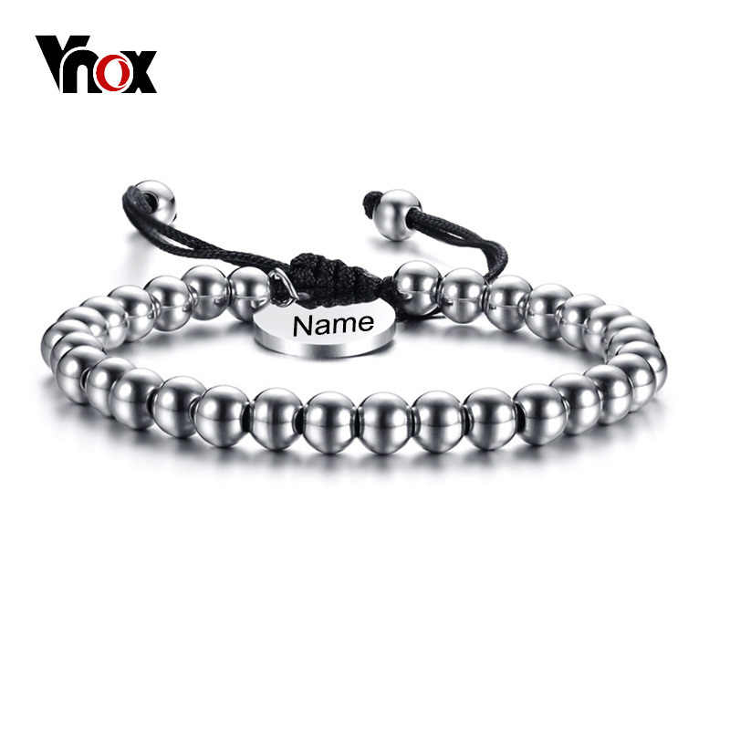 Vnox Personalized Name Charm 6mm Stainless Steel Beads Women Men Bracelet Bangle Adjustable Unisex Jewelry Mother's Day Gift