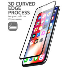 """For iPhone Xs Max 6.5"""" SUPCASE Anti Scratch Premium 3D Curved Edge Anti Impact Tempered Glass Screen Protector With Guide Frame"""