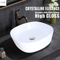 Xueqin Bathroom Porcelain Ceramic Vessel Sink Basin White Square Bowl Faucet Sink Wash Basin Lavatory 430x430x130mm