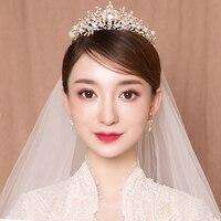 Fashion Korean Wedding Headband Princess Bridal Tiara Crown Hair Accessories Women Headband Rhinestone Beaded Hairband Handmade