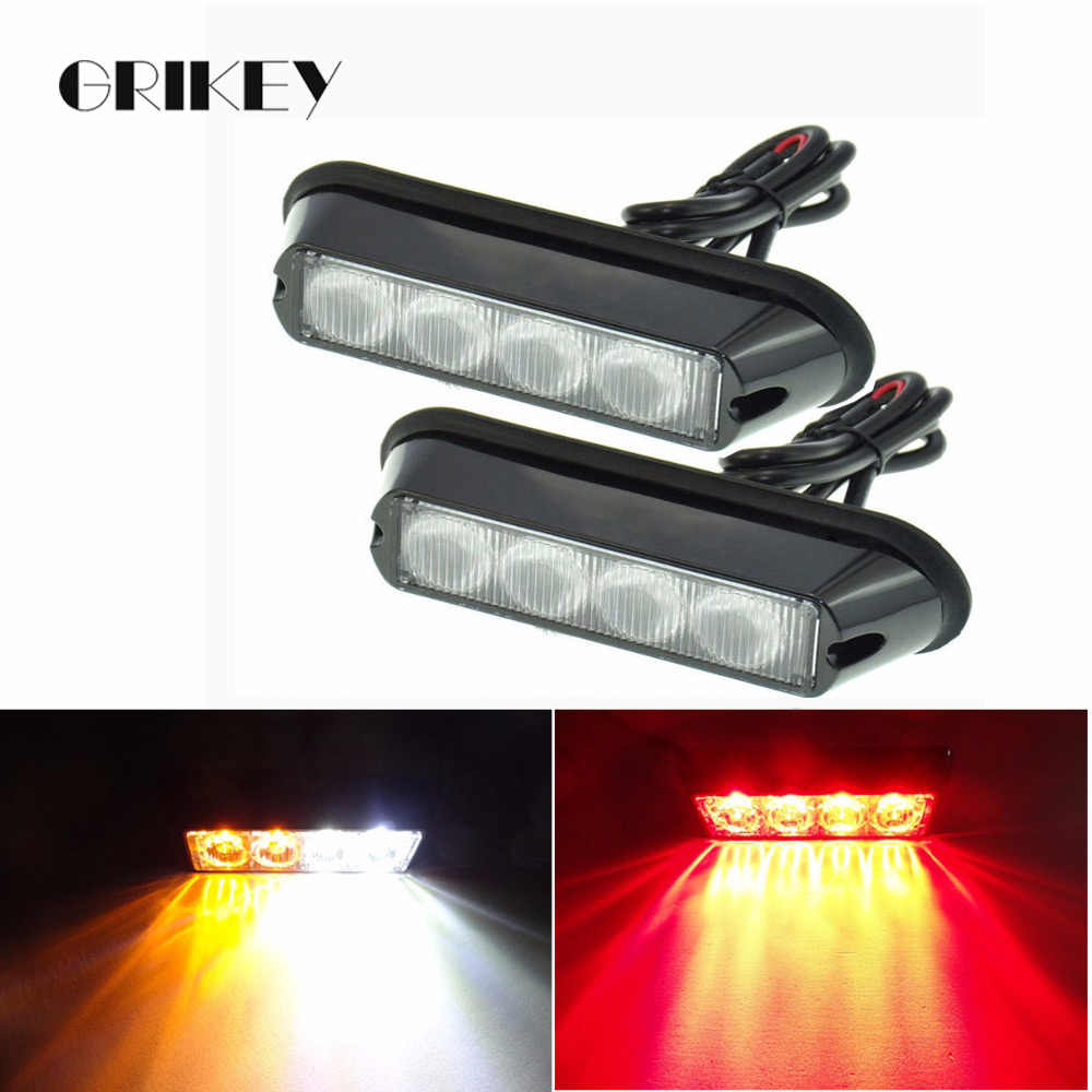 2 uds 4 Barra de luz Led de coche, luz de advertencia, lámpara intermitente de emergencia, baliza luminosa, luz estroboscópica de emergencia, luz impermeable IP62