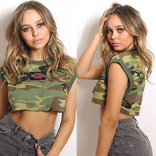2018 New Camouflage Printed Womens Summer Vest Crop Tops Sleeveless Tee Shirt Soft Casual T-Shirt
