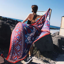 hot deal buy summer travel seaside holiday sunscreen wrap shawls beach towels female cotton linen ethnic style large simulated silk scarves