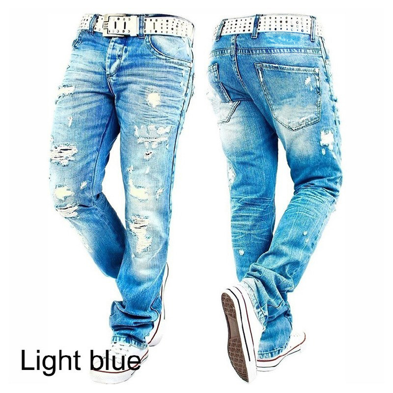 Hemiks Men'S Ripped Skinny Distressed Destroyed Slim Fit Stretch Biker Jeans Pants With Holes Men Casual Pants(China)