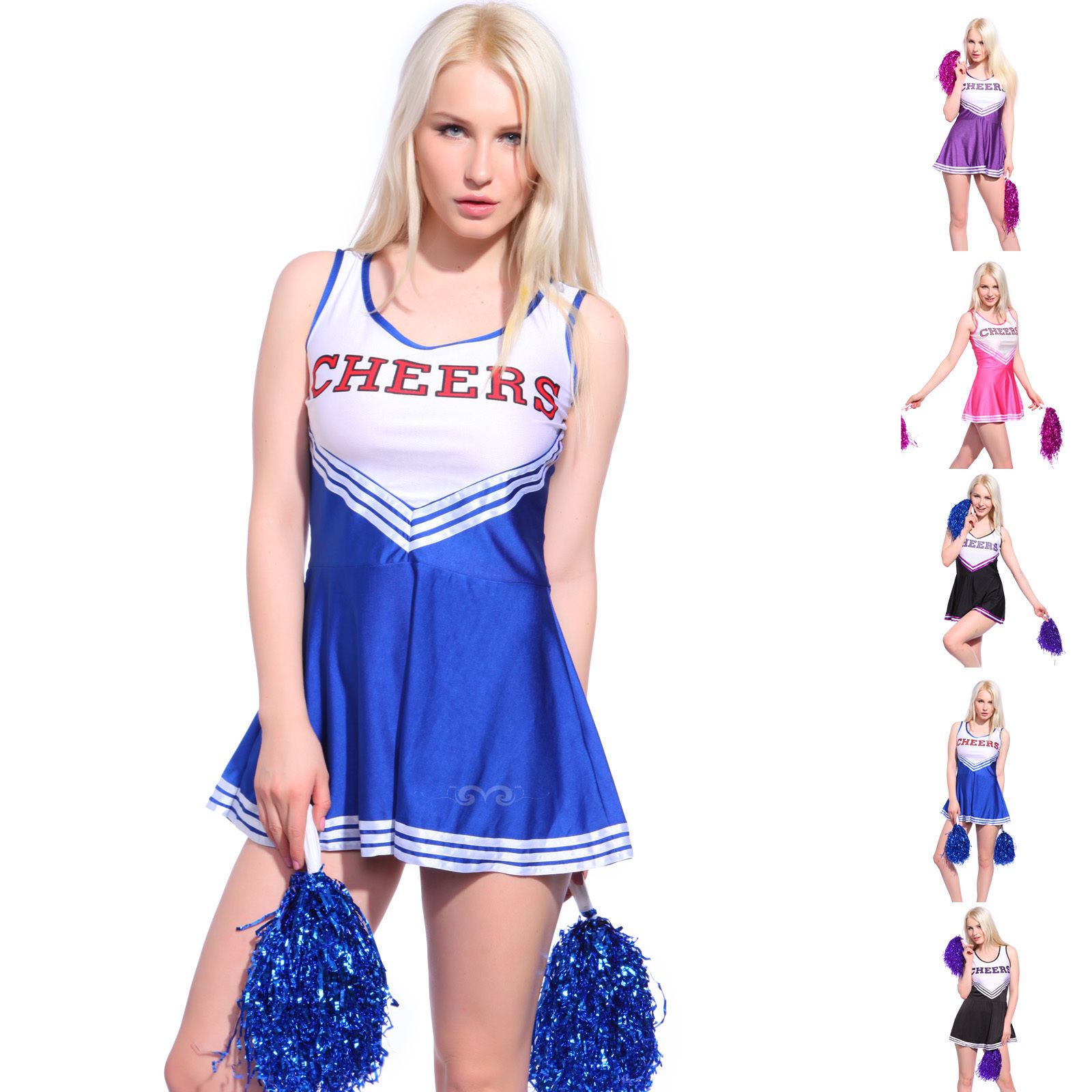 Women Cheerleader Uniform School Girl Fancy Dress Costume Outfit