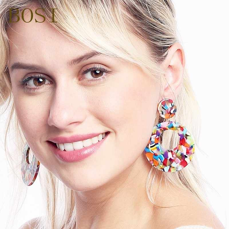 Earrings For Women Acrylic Boho Acetate 2019 Drop Dangle Earings Fashion Big Jewelry Bohemian Dangle Accessories Geometric Star