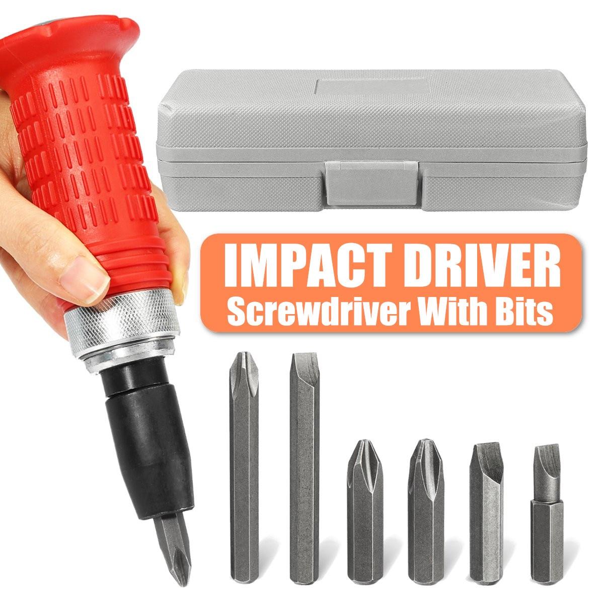 Impact Screwdriver Driver Set Carbon Steel Multi Bits Hammer Socket Repair Tools Kit Storage Box Screwdriver Head Set Universal|Screwdriver| |  - title=