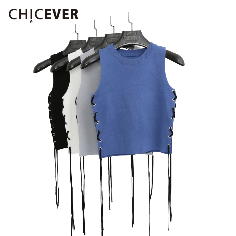 CHICEVER 2018 Summer Sleeveless Crop Top Female Knitted Short Side Wear Bandage Women's Tops Vest Black Clothes Fashion Korean