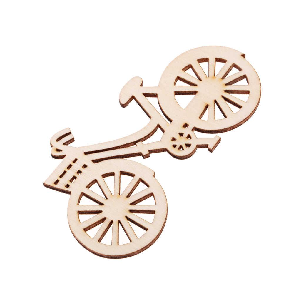 10pcs 90x53 มม.จักรยานตัดรูปร่างไม้ไม้ประดับสำหรับ DIY Scrapbooking งานแต่งงานตกแต่งบ้านเครื่องประดับ
