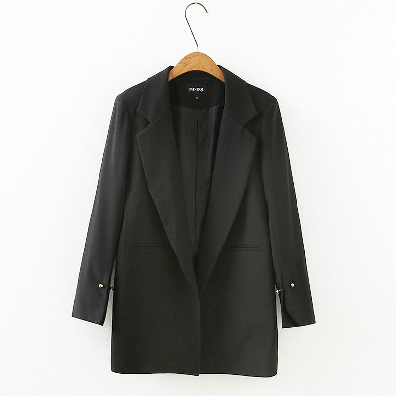 PEONFLY 2019 Women Long Sleeve Blazer Black Turn Down Collar Coat Office Lady Business Suit Casual Jacket Suit Femme Blazer Slim