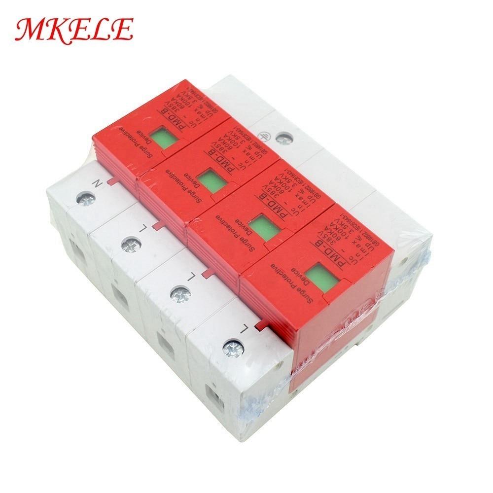 SPD 4P 60KA~100KA ~420VAC AC Free Shipping House Surge Protector Protective Low voltage Arrester Device Din Rail