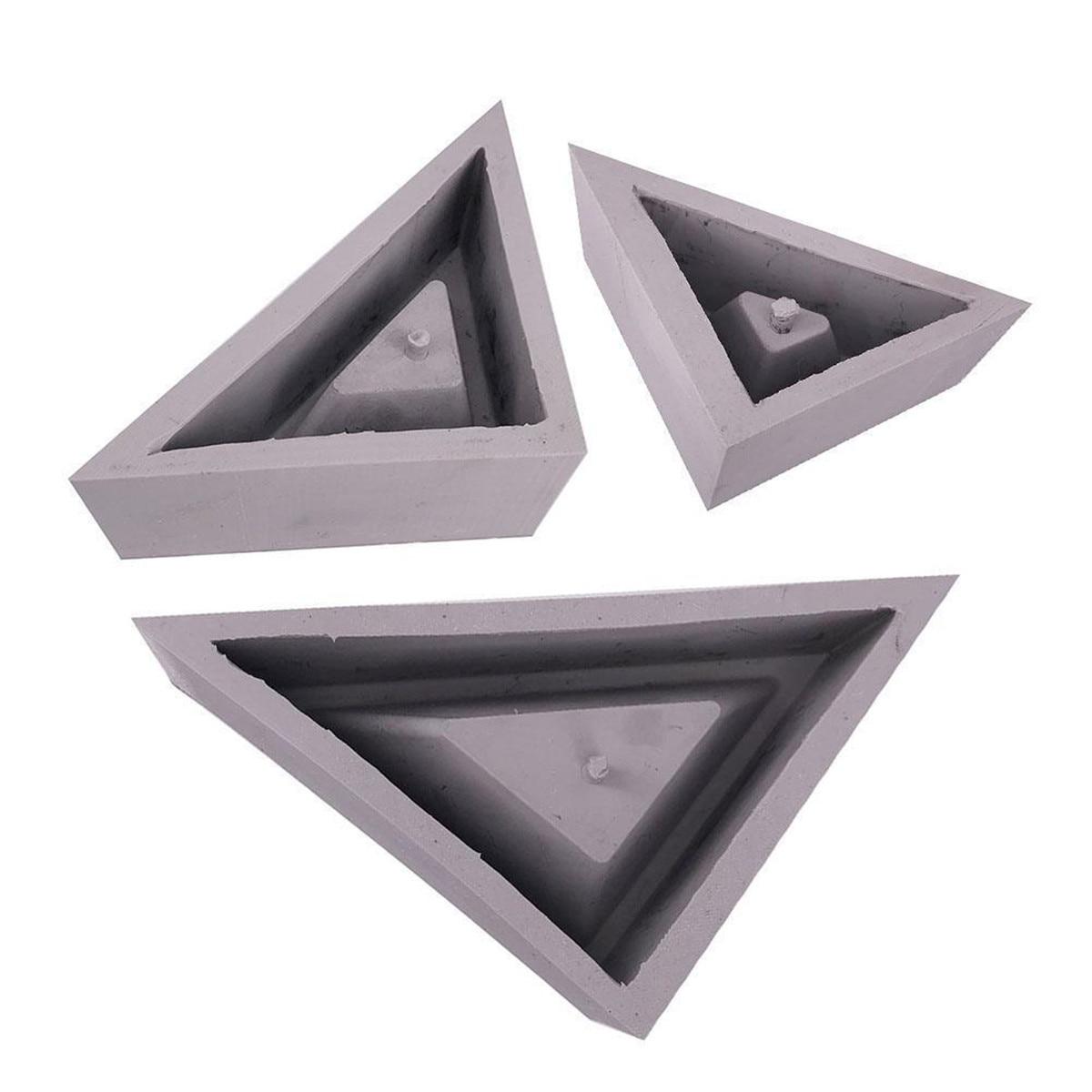 S/M/L 3D Triangle Flowerpot Silicone Mold Geometrics Vase Bonsai Flower Pot Planter Mould DIY Concrete Cement Clay Molds Crafts