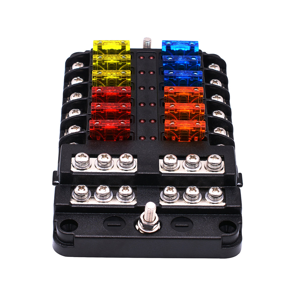 Car Accessories Fuse Box Holder With LED Light 12-Way Fuse Box Power Supply Insert Type Damp-Proof Block Marine