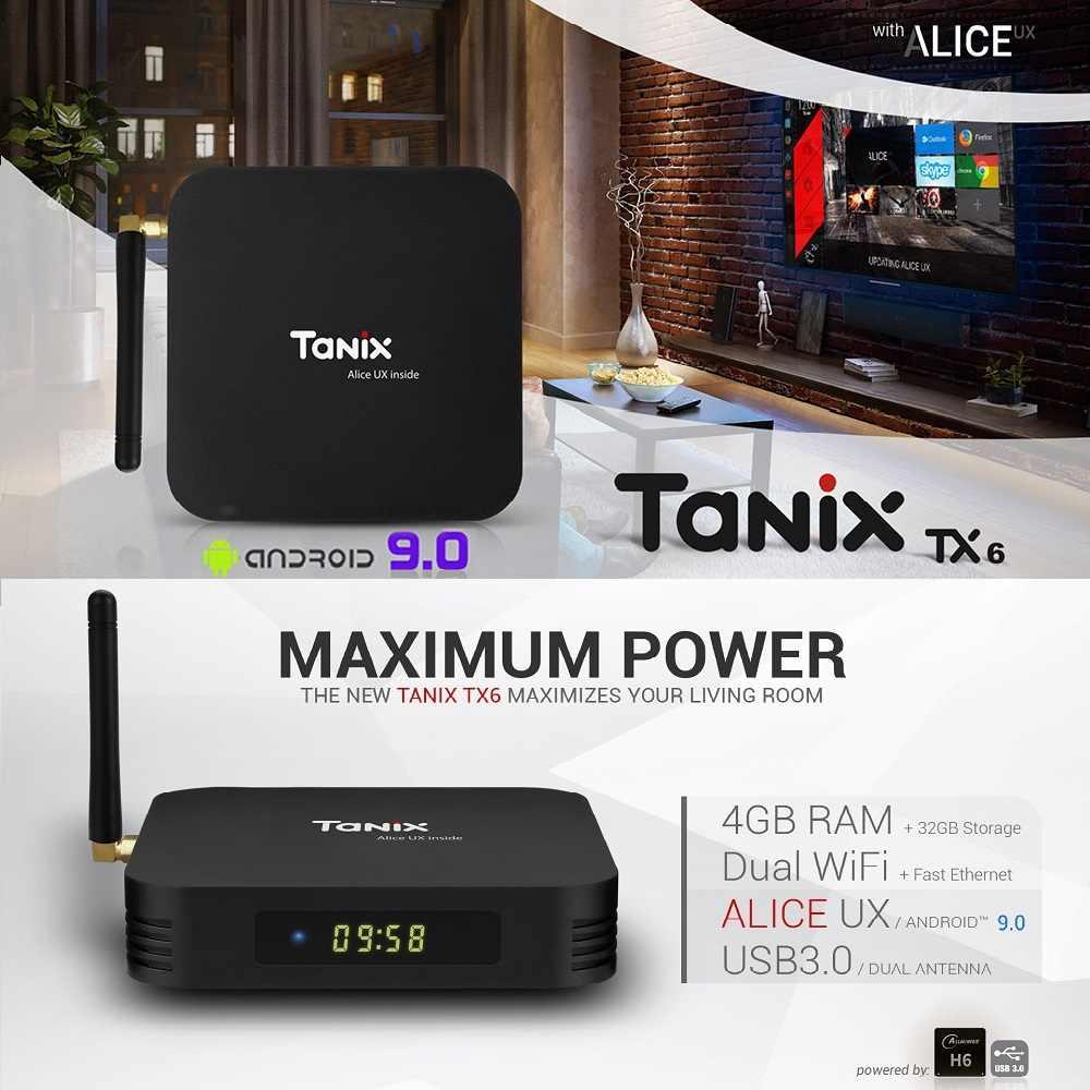 Tanix TX6-TV Thông Minh Hộp Allwinner H6 Dual-Ăng ten Android 9.0 USB 2.0 USB3.0 2.4G WIFI hỗ trợ 6K H.265 100Mbps đa Phương Tiện