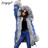 Ruiyige 2018 New Denim Parkas Women Winter Coat Cotton Female Winter Jacket Womens Fur Hood Outwear Female Fashion Denim Coats