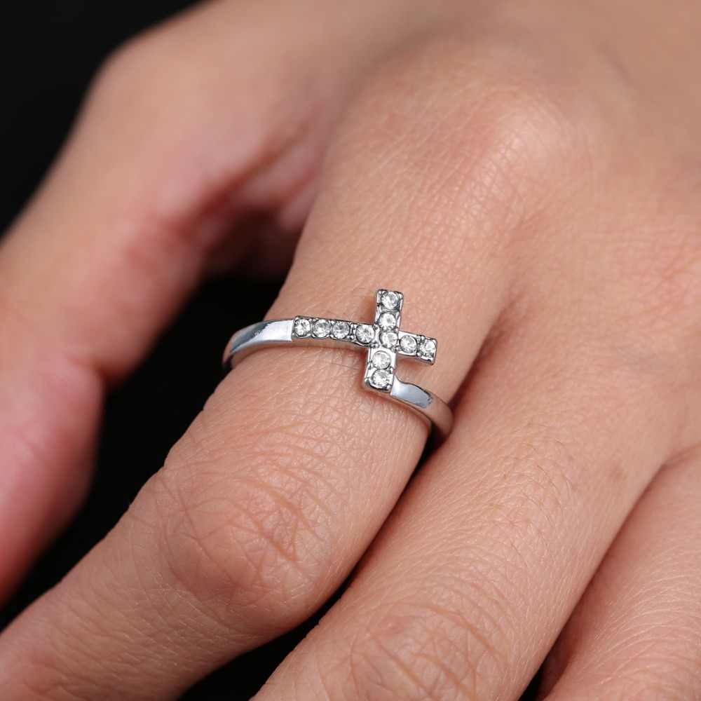 Adjustable Cross Ring SILVER Rhinestone Jewelry Silver color stainless steel Ring Girl Brides Wedding party Gifts Women men