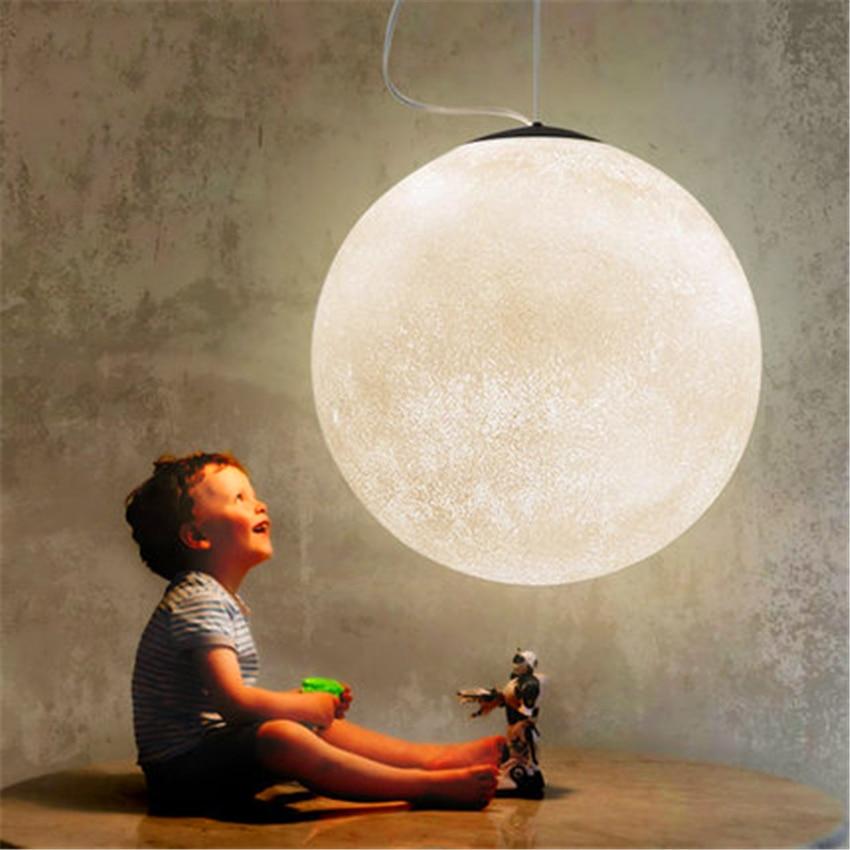 Nordic LED Moon Pendant Lamp Ball Modern LED Pendant Light Resin Lamps Restaurant Bedroom Living Room Dining Decoration Lighting