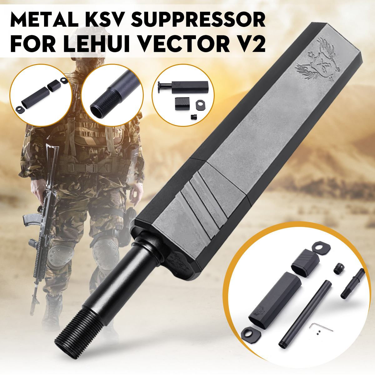 Metal Black KSV Mock Suppressor For LeHui Vector V2 Water Gel Ball Replacement Accessories