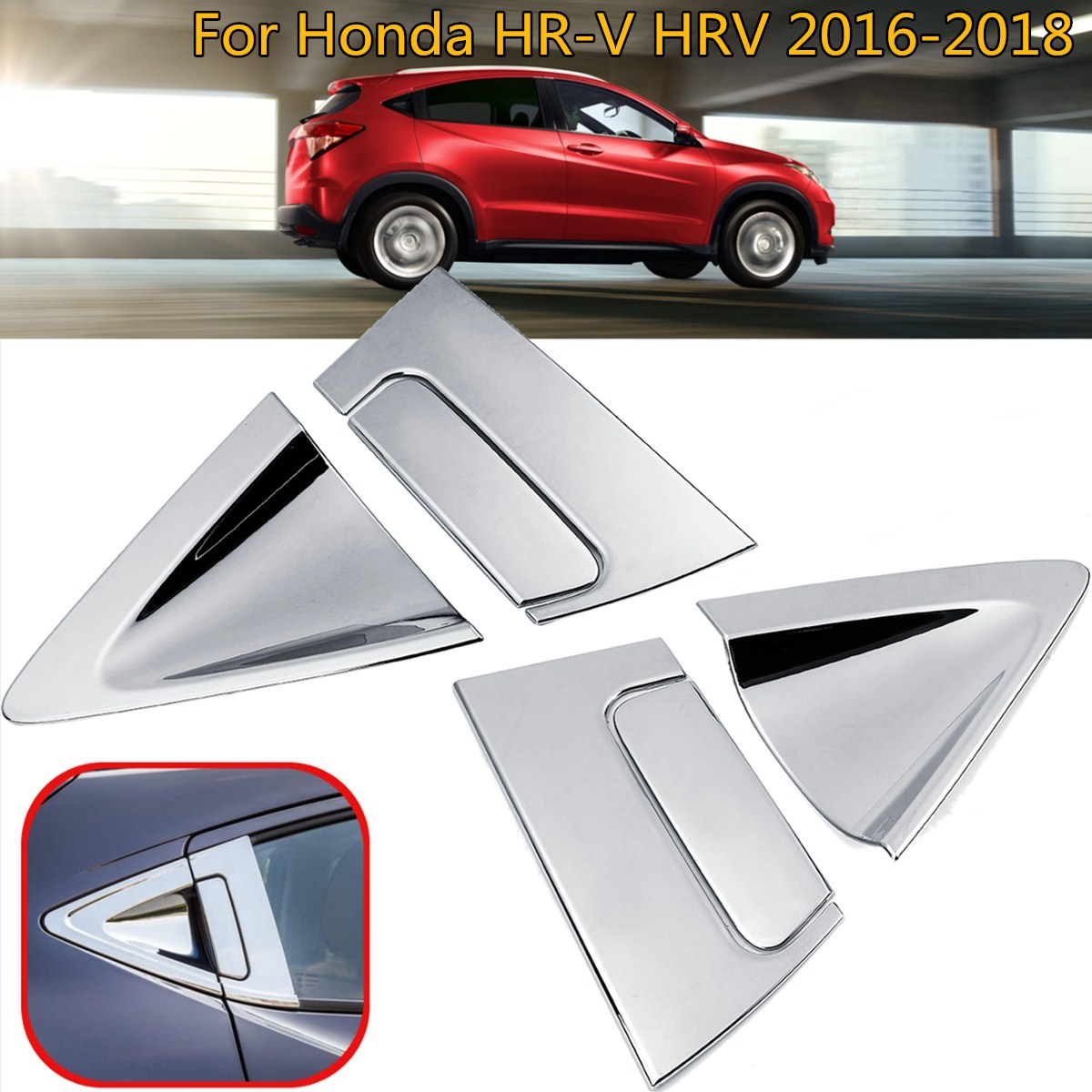 For <font><b>Honda</b></font> Vezel HR-V <font><b>HRV</b></font> 2016-2018 Car <font><b>Accessories</b></font> 6pcs ABS Chrome/Carbon fiber Side Rear Door Handle Bowl Cover Insert Trim image