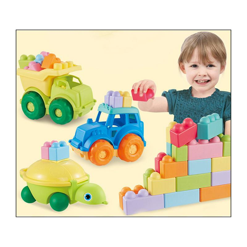 Animal Building Blocks Car Toy Set Baby Car Model Building Kit Accessories Bite Assembled Toys Baby's Waterproof Teether Tools