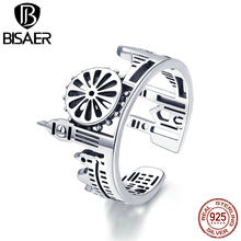 BISAER 925 Sterling Silver Country Sketch Big Ben London Bridge Finger Rings Memorial Gifts For British London is Opening GXR474(China)