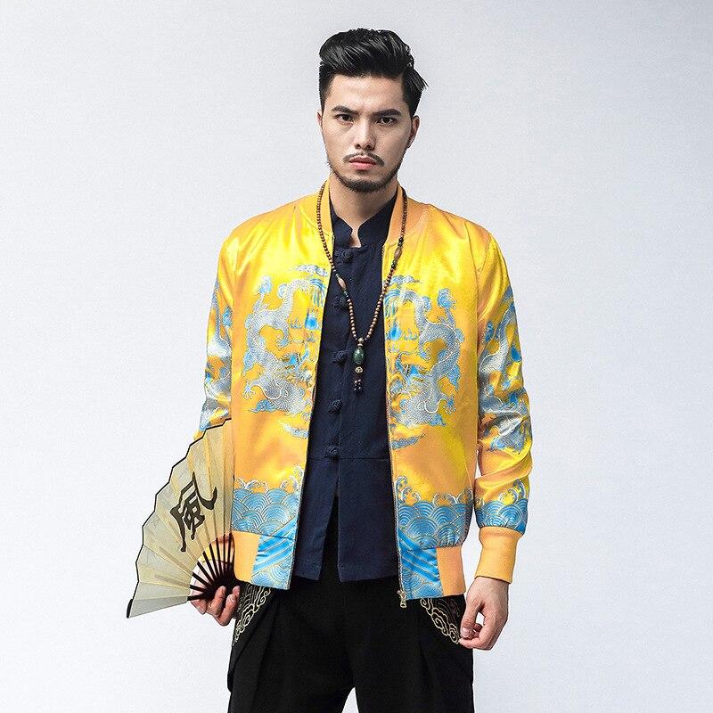 #4334 printemps Style chinois impression 3d Dragon Mandarin col Bomber veste hommes grande taille 5XL Streetwear Baseball manteau or/rouge