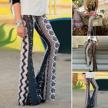 Fashion Women Floral Boho Slim Flare Wide Leg High Waist