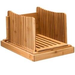 Rebanadora de pan de bambú caliente guía de corte-cortador de pan de madera para pan casero, pasteles de pan, bolsas plegables y compactas con