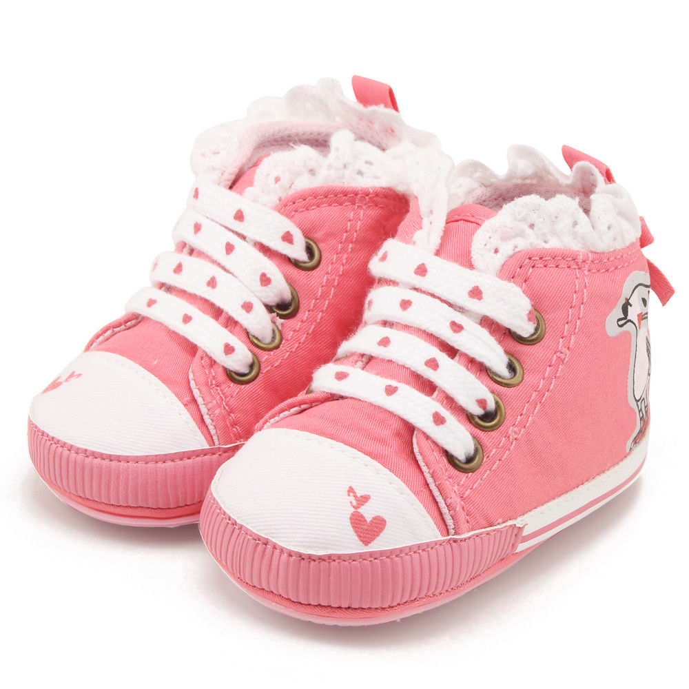 New Arrival Newborn Infant Baby Kids Lace Up Shoes Girl Soft Sole Crib Shoes Prewalker Casual Children Lovely Pink Shoes
