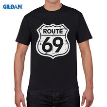 GILDAN T Shirt Wholesale Funny Men O-Neck Route 69 Bikerr Classic Vintage Retro  Short-Sleeve