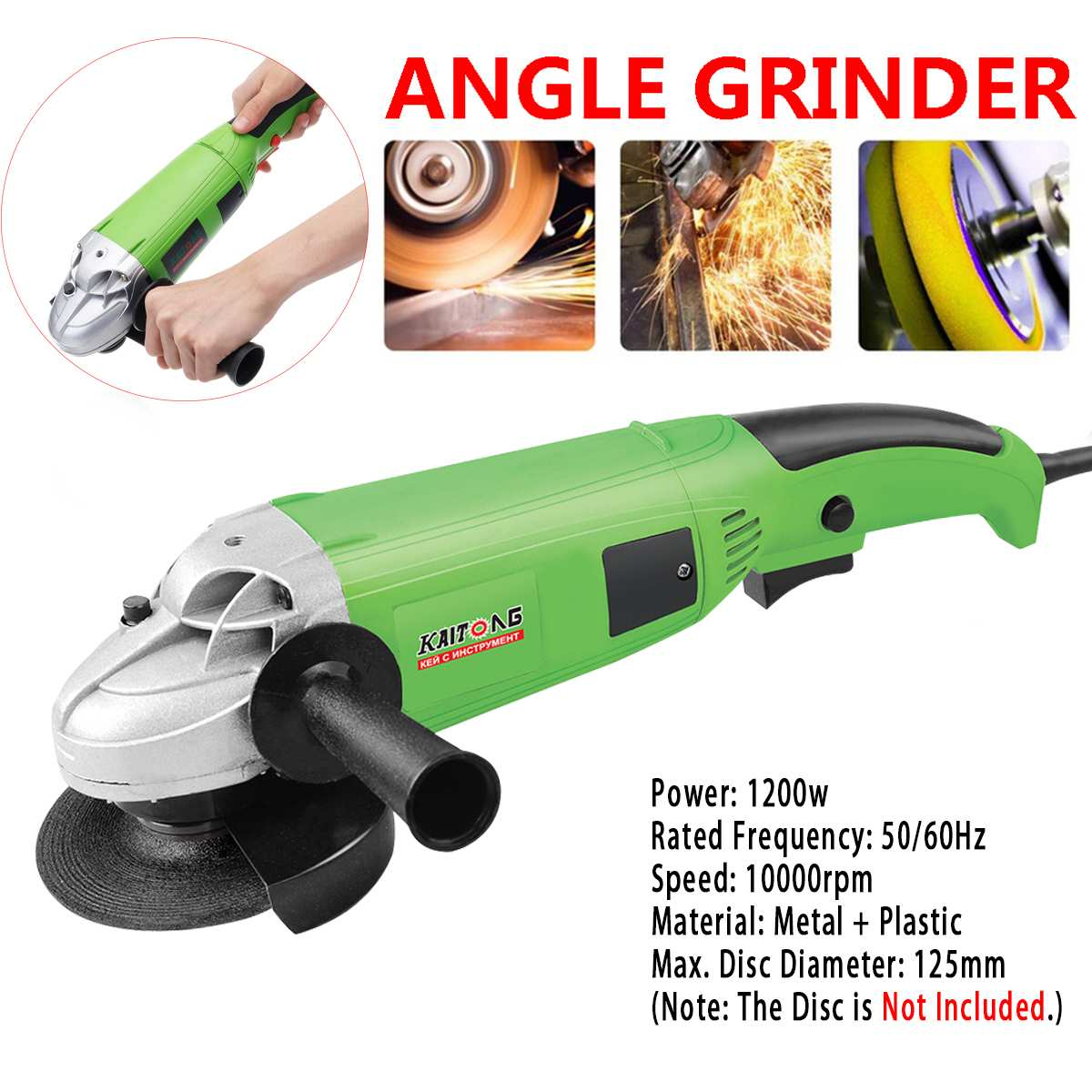 10000RPM 1200W Electric Angle Grinder 125mm Grinding Machine Metal Cutting Tool Left/Right Adjustable Anti-Slip Auxiliary Handle10000RPM 1200W Electric Angle Grinder 125mm Grinding Machine Metal Cutting Tool Left/Right Adjustable Anti-Slip Auxiliary Handle