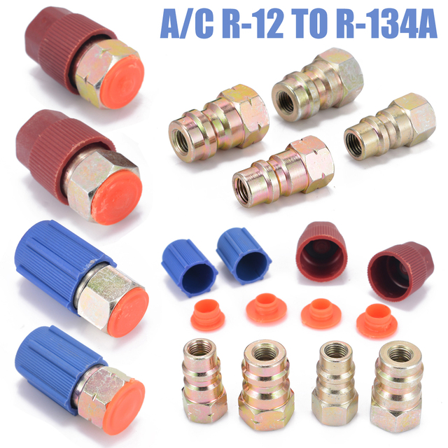 US $11 72 |1 Set A/C R 12 to R 134a Retrofit Conversion Adapter Fitting  7/16 3/8 SAE Valves for Air Conditioning Valve Tools Kit-in Connectors from