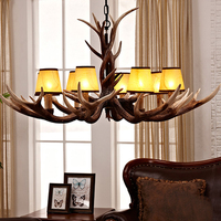 SETTEMBRE Modern White Antler Chandelier Bedroom Dining Living Room Fabric Lamp Shades Chandeliers Nordic Chandelier Lighting