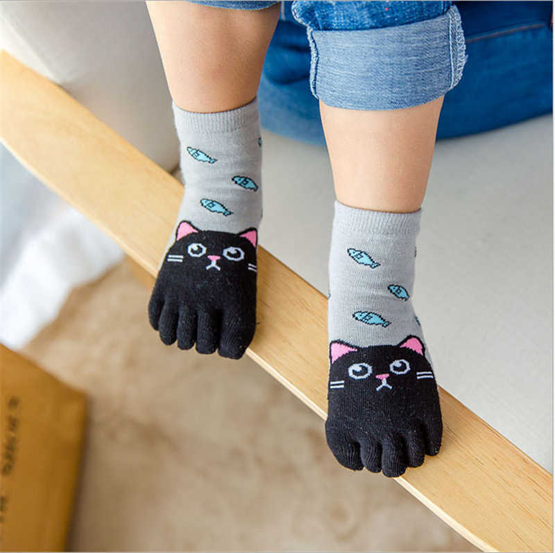 Calcetines de dedos para niños pequeños bebés niñas niños animales de dibujos animados cinco calcetín con dedos calcetín de pie 1 par de calcetines lindos para bebés