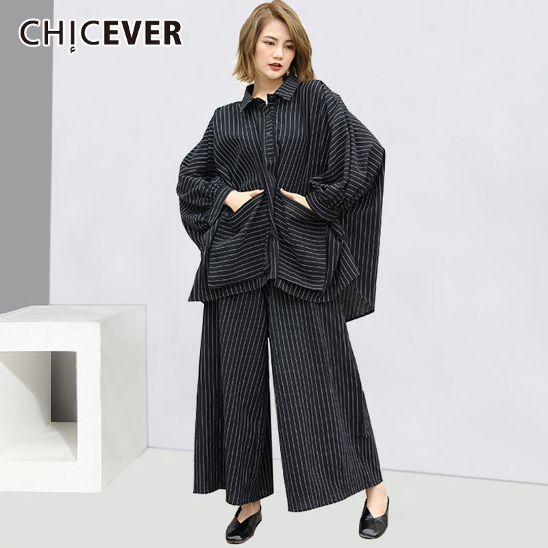 CHICEVER Striped Two Piece Set Women Suit Autumn Oversize Shirt Hem Irregular Blouse With Ankle Length