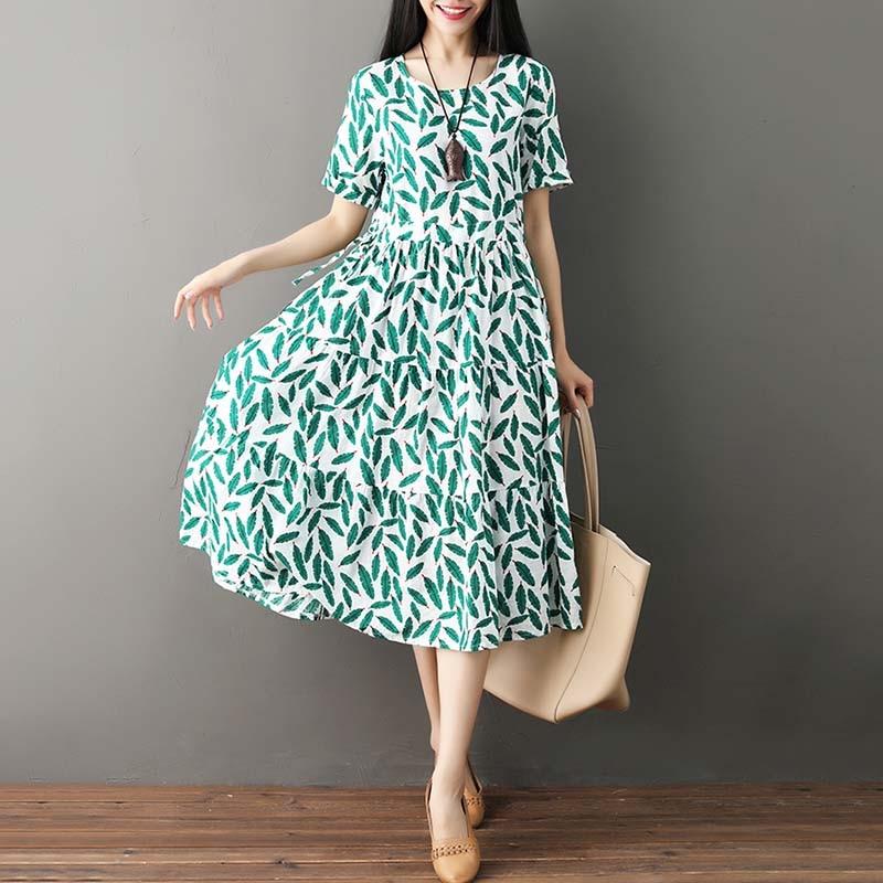 2019 Vintage Women Cotton Dress Leaves Print Short Sleeve O Neck Boho Loose Casual Summer Long Dress Female Midi Dresses Vestido